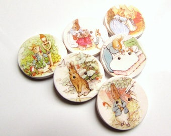 "Peter Rabbit buttons - Beatrix Potter - 1"" buttons - Kid's Buttons - Cute Buttons - Storybook Buttons - Rabbit Buttons - Focal -  Handmade"