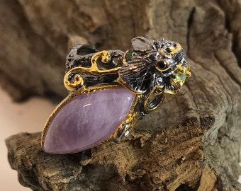 Lavender Amethyst Marquis Flowing Ivy Peridot Moth Dream Rhodium Plated Silver Size 7.75