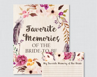 Favorite Memories of the Bride To Be Activity - Printable Boho Bridal Shower - Bohemian Bridal Shower Activity Flower & Feather - 0006