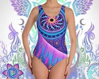 Bathing Suit Retro Bathing Suit One Piece Swimsuit Psychedelic Swimsuit Festival Fashion Sacred Geometry Hippie Boho Rave
