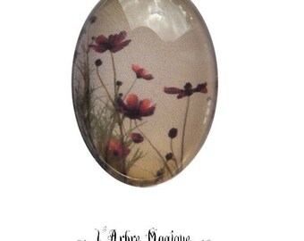 Cabochon 18 x 25 mm glass Daisy flower romantic fields