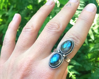 Double Labradorite statement ring  // size 8 //Recycled sterling silver