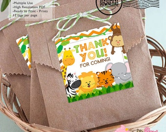 INSTANT DOWNLOAD - Safari  Birthday party Favor tags - Safari Party decorations thank you tags baby shower