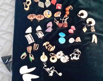 Vintage Clip on Earrings - 24 Pair