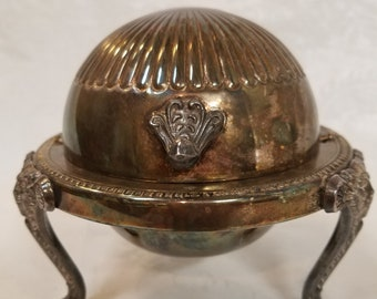 Vintage silver lion claw footed globe butter dish,  FB Rogers Silver Company, Rogers Silver Company, Rogers Silver Company butter dish