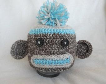 Blue Sock Monkey Handmade Crochet Beanie Hat Baby Boy Photo Prop Custom Made