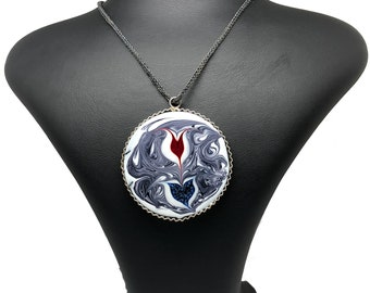 Oxidised Sterling Silver (1000k) Necklace with Ebru Art Pendant