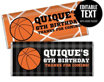 Basketball Chocolate Bar Wrappers. Birthday Chocolate Bar Wraps. Printable Party favor. Basketball Team Large Candy Bar Labels. Sports Decor