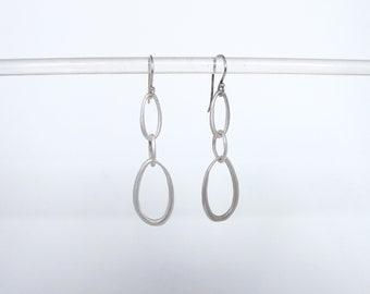 Dangling hoop matte silver brass drop ear dangling earring  simple statement everyday earring amy kreiling triple loop boho gift for her