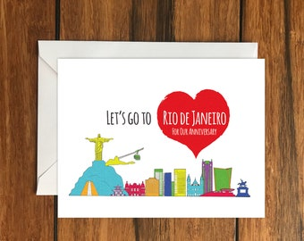 Let's Go To Rio de Janeiro For Our Anniversary Blank greeting card, Holiday Card, Gift Idea A6