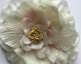 SILK  FLOWER , Cream with pink center / F - 27