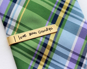 Father's Day Gift - Handwriting Tie Clip, Custom Engraved Tie Bar, Personalized Gift for Men, Custom Tie Bar, Engraved Tie Clip Handwriting