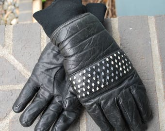 Vintage Men's 80's Leather Gloves Winter Gloves