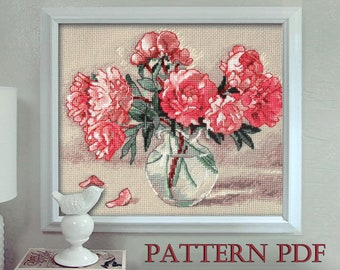 Peonies in Vase - Cross stitch pattern, Cross stitch Peony, Flower cross stitch, Floral cross stitch , Counted cross stitch