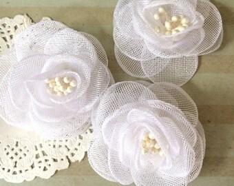 White fabric flower etsy white fabric flowers small 25 sheer shimmer tulle rose flowers wedding embellishment baby headband applique wholesale flower bailee mightylinksfo