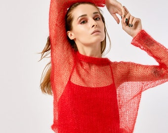 Hand knitted red sweater