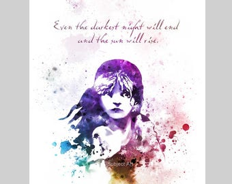 ART PRINT Les Miserables illustration, Victor Hugo Quote, Film, Movie, Wall Art, Home Decor