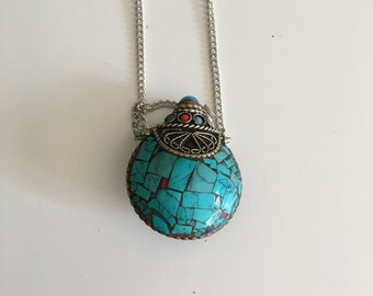 Beautiful Gypsy Tribal Locket/ Necklace, bohemian jewelry, bohemian necklace, bohemian locket, turquoise and coral