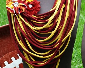 Iowa State Shredded Scarf with Flower Clip/Pin