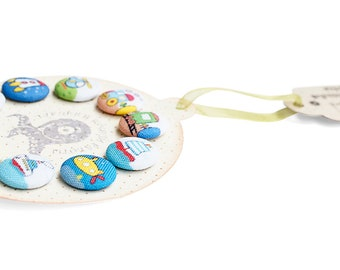 Fabric covered buttons handmade multicoloured children Buttons  PLANES TRAINS and CARS