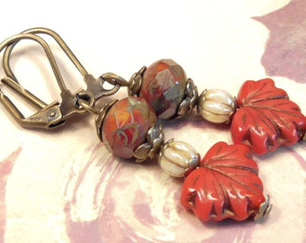 Antiqued Brass Earrings Czech Glass Orange Red Picasso Rondelle, Ivory Luster Pumpkin & Red Maple Leaf Fall Autumn Seasonal Earrings