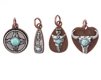Southwestern Charms Antiqued Copper Antiqued Silver Turquoise Charms Western Charms Arrowhead Charm Longhorn Charm Set Charms with Rings