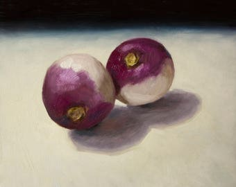 original art : modern still life oil painting of  turnip for vegetables lovers - ready to hang