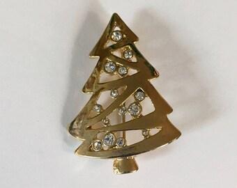 Vintage Gold Tone Rhinestone Mid Century Modern Style Christmas Tree Brooch