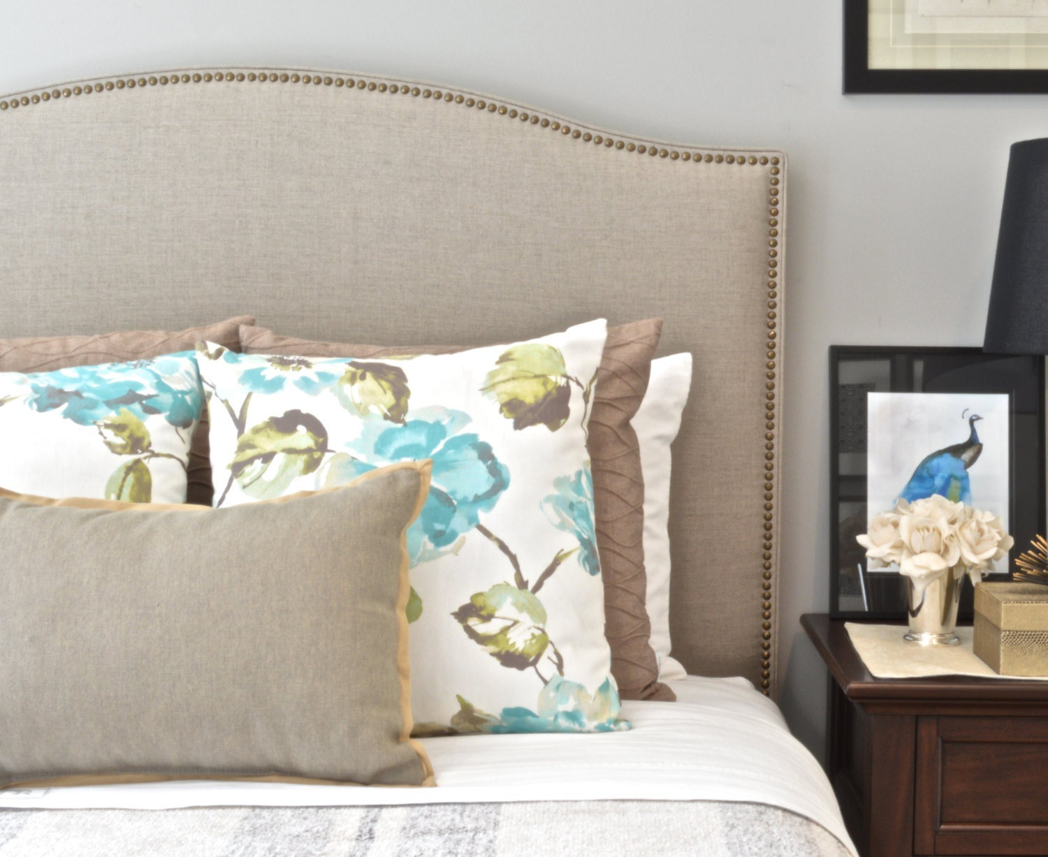 upholstered headboard king queen full twin size camelback. Black Bedroom Furniture Sets. Home Design Ideas