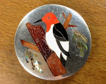 Zuni Inlay Pendant Brooch, Albert and Dolly Panteah Bird Pin, Red-Headed Woodpecker