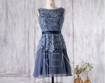 Dark Steel Blue Bridesmaid Dress, Short Wedding Dress, Lace Chiffon Party Dress, Prom Dress, a line Formal Dress Knee Length (F010A)