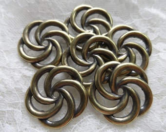 "Vintage gold plate brass stamped swirls,1&1/16th"",6pcs-KC420"