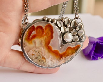 Unique Handcrafted Agate Necklace, Silver Necklace, Detailed Metalwork, Statement Jewelry, Eye Catching, Darkened Silver Finish