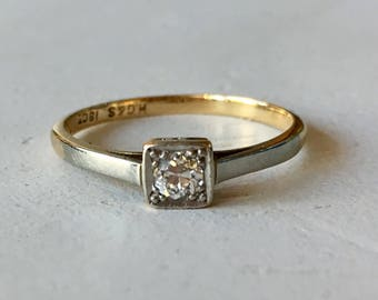 Old European Cut Diamond Engagement Ring - Diamond Solitaire Ring - Platinum and 18kYellow Gold Ring