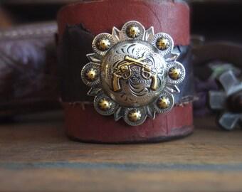 Leather Cuff, Western Bracelet, Cowgirl Cuff, Cowboy Cuff, Western Jewelry  *RUFFSTOCK*