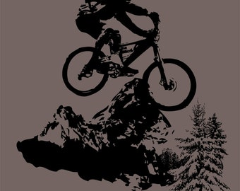 Mountain Biking - Bicycle - Bike - Riding - T-shirt Water Based Ink - S or M - Charcoal Grey