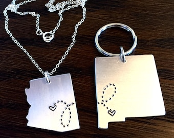 Long Distance Relationship Necklace, couples gift, going away gift, BFF gift, state Necklace & Keychain Set of TWO