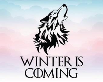 Game of thrones Winter is coming wolf head vector logo for cutting, GoT Instant download SVG EPS Dxf Png Pdf Ai