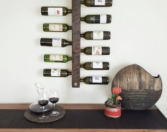 Wall-mounted recycled timber wine rack - Legless