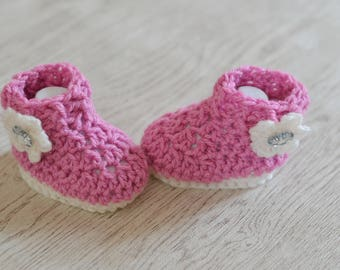 Girls Crochet Pink Baby Boots, Baby Shoes,  Booties, Baby Shower Gift, handmade baby boots,
