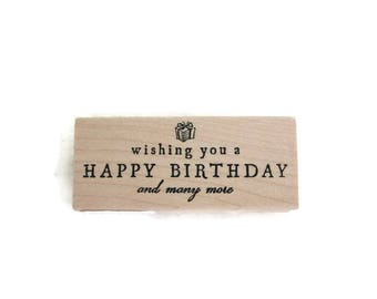 Birthday Stamp | Wishing You A Happy Birthday And Many More Wood Mounted Rubber Stamp | Birthday Rubber Stamp | Card Making