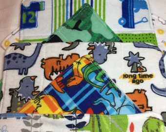 Cloth baby wipes, diaper wipes, baby washcloths, set of 6, baby boy gift, shower gift, dinosaurs,