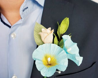 Wedding/Special Event Boutonniere: Handmade Crepe Paper Morning Glory