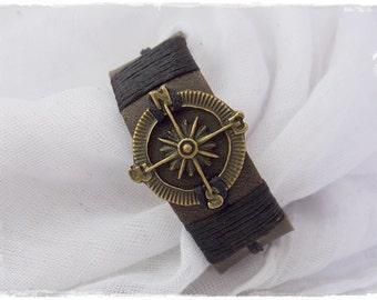 Men's Nautical Bracelet, Compass Leather Bracelet, Steampunk Men's Bracelet, Leather Anniversary Bracelet Cuff, 3rd Anniversary Bracelet