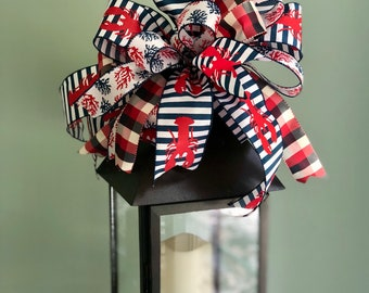 The Caspian red white and blue nautical bow for wreaths/lantern bow/lake house bow/summer beach lobster/ plaid and stripe bow/americana bow