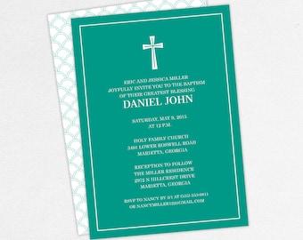 Baptism Invitation, Christening Invitation, Boy Baptism, Neutral Baptism, Printable Baptism Invitation, Printed, PDF, Modern, Teal, Daniel