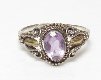 Sterling Silver 0.70 Ct Natural Oval Purple Amethyst Solitaire Ring