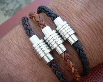 Mens Braided Leather Bracelet with Stainless Steel Magnetic Clasp, Fathers Day Gift, Mens Bracelet, Mens Jewelry