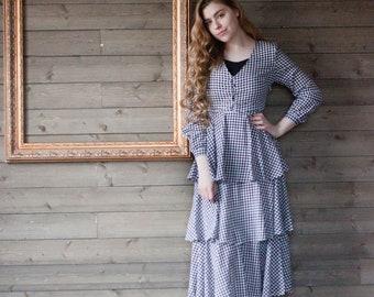 SALE Gingham Ruffle Tier Dress