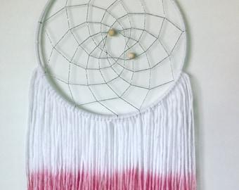 Pink dip dyed yarn art dreamcatcher